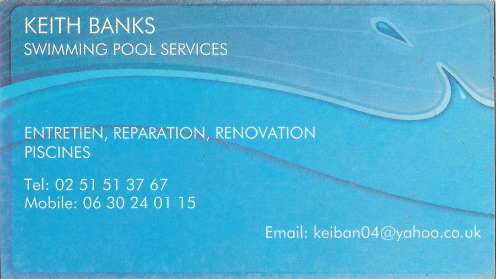 Keith Banks business card swimming pool services Vendee piscine