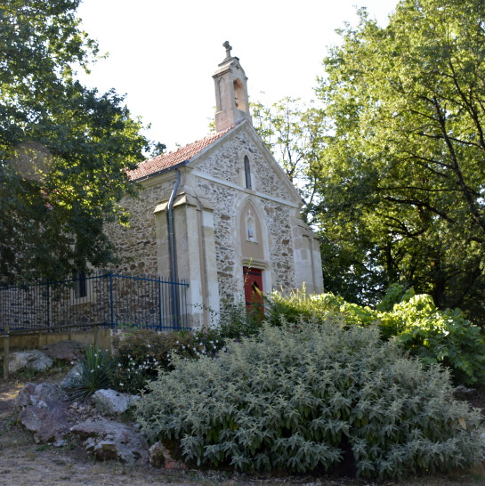 Chapel near lake in Cheffois