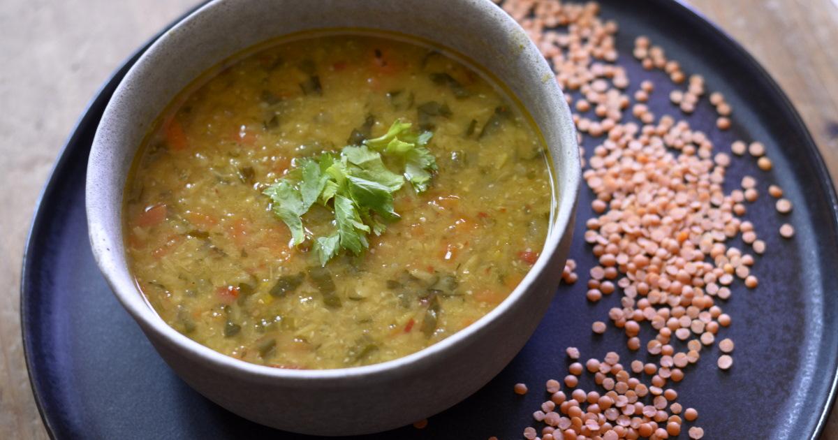 Coral lentil soup with lemon