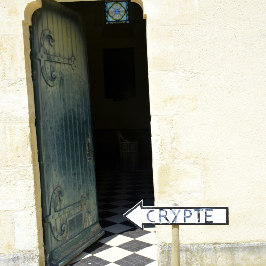 Church door to Crypt Curzon in the Vendee