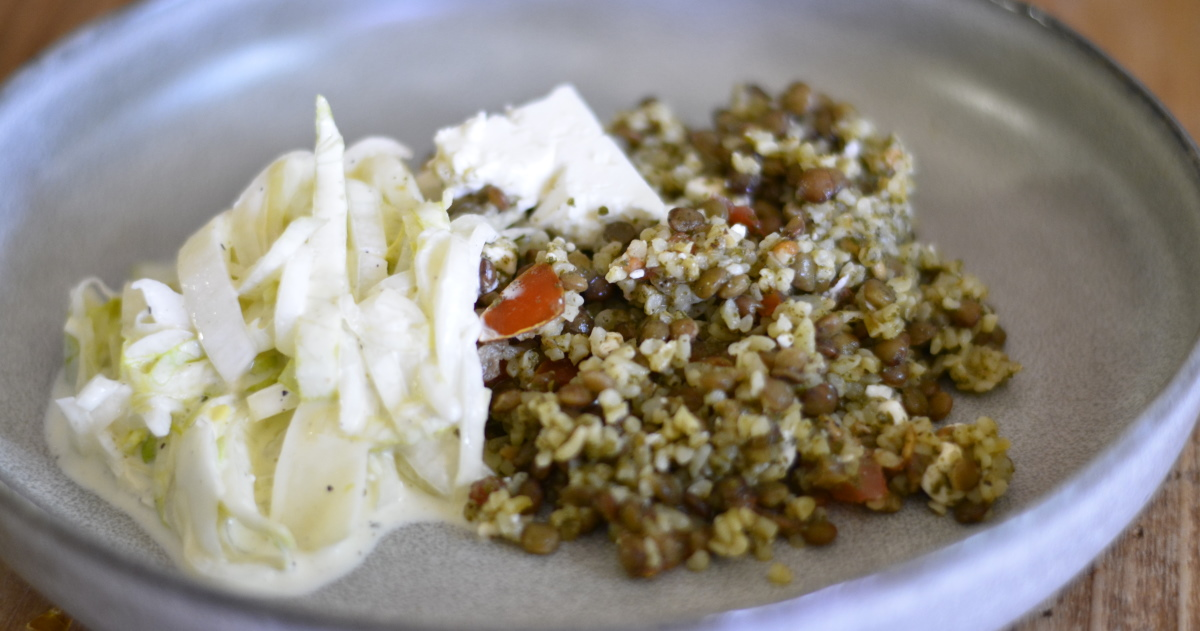 tabouleh and green lentil with feta and endive salads