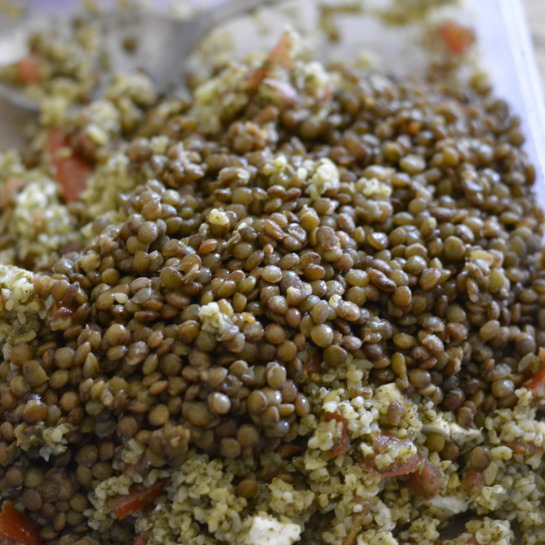 cooked lentils and bulgur