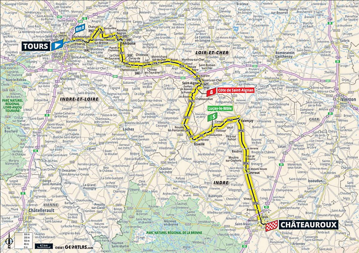 Map tour de France Stage 6 in 2021